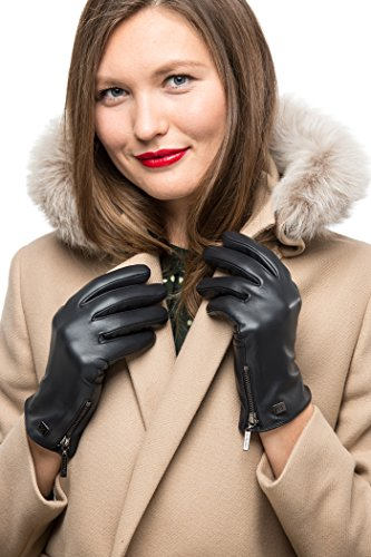 Avenue Leather Gloves (Nappa Leather Zipper Glove For Women, Touchscreen Cold Weather - Thinsulate Lined Gloves - Navy - X-Large)