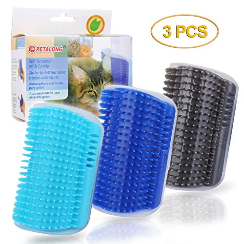 OUTFANDIA 3.0 Softer Cat Self Groomer with Catnip, Dog Cat Corner Groomer,Wall Corner Massage Comb, Cat Toy Grooming Brush, Perfect Scratcher for Long & Short Fur Cats/Dogs/Horses