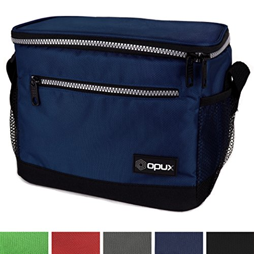 OPUX Premium Insulated Lunch Bag with Shoulder Strap   Lunch Box for Adults, Kids   Soft Leak Proof Liner   Medium Lunch Cooler for Office, School   Fits 6 Cans (Navy)
