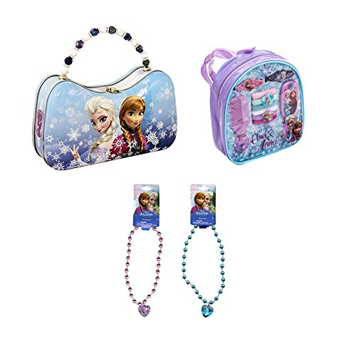 The Tin Box Company Disney Frozen Scoop Carry All Tin with Hair Accessory Set & Elsa Necklace (3 Value Set)
