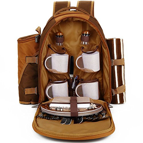 TAWA Picnic Backpack Bag for 4 Person With Cooler Compartment, Detachable Bottle/Wine Holder, Fleece Blanket, Plates and Cutlery (Coffee)