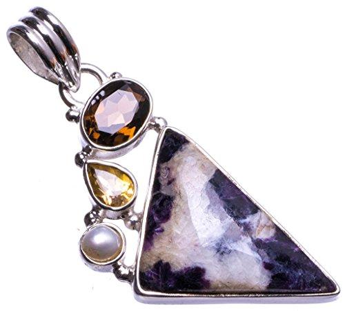 Natural Pinolith Jasper,Smoky Quartz,Citrine River Pearl 925 Sterling Silver Pendant 2