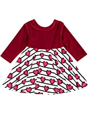 Viworld Toddler Baby Girls Valentine's Day Dress Velvet Heart Princess Playwear Outfits One-Piece