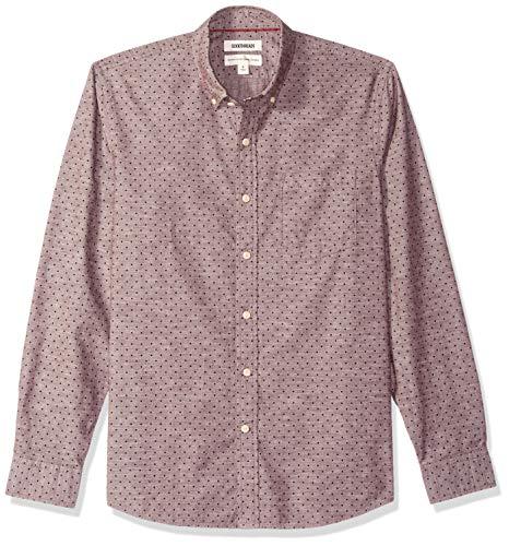 Goodthreads Men's Standard-Fit Long-Sleeve Polka Dot Chambray Shirt, Burgundy Navy, X-Large
