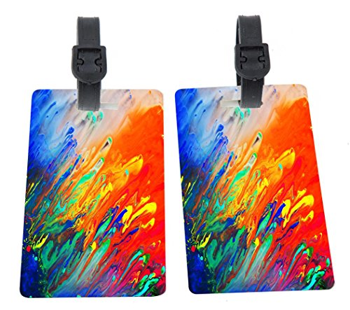 - Rikki Knight Colorful Abstract Glassy Acrylic Painting Design Premium Quality Plastic Flexi Luggage Tags with Strap Closure - Great for Travel (set of 2)