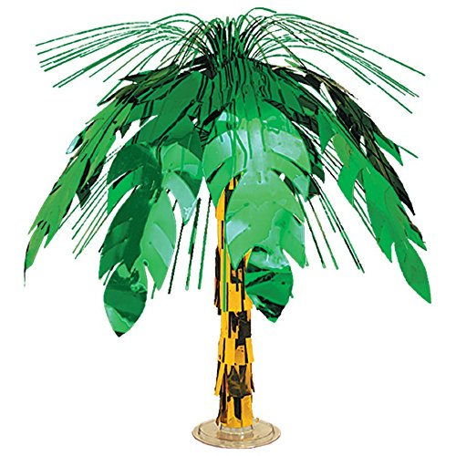 Club Pack of 6 Green and Gold Palm Tree Cascade Table Centerpiece Decoration 18