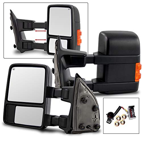 (Make Auto Parts Manufacturing Set of 2 Left and Right Side Power Operated Heated Amber Signal Tow Mirror For Ford F250/F350 Super Duty 1999-2007 / Excursion 2001-2005 - FO1320196, FO1321196)