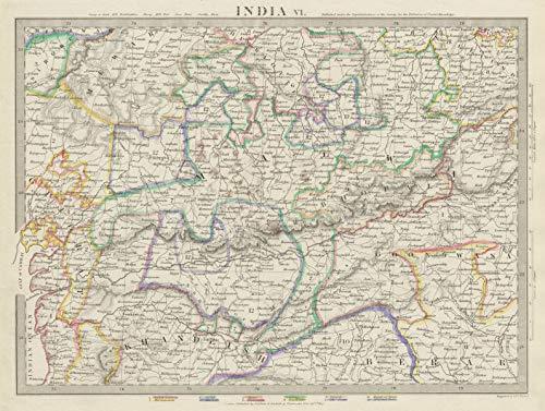 Goondwana Bhopal Sduk 1844 Map Art India.bundelkhand To Khandeish Berar.gujerat
