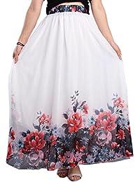 Women Full/Ankle Length Blending Maxi Chiffon Long Skirt Beach Skirt