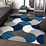 Well Woven Hilda Blue Modern Geometric Circles & Boxes Pattern Area Rug 5x7 (5'3' x 7'3')