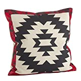 SARO LIFESTYLE 1346.M18S Cowhide Leather Navajo Pattern Down Filled Throw Pillow, Multicolor, 18''