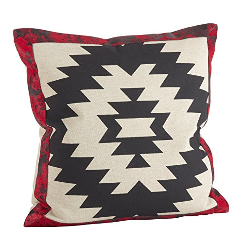 SARO LIFESTYLE 1346.M18S Cowhide Leather Navajo Pattern Down Filled Throw Pillow, Multicolor, 18'' by SARO LIFESTYLE