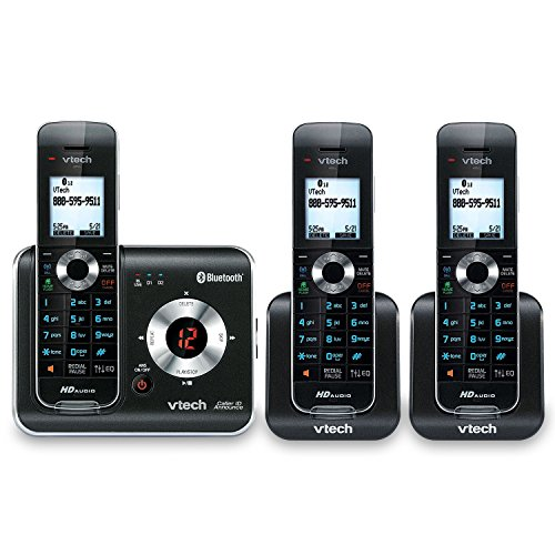 VTech DS6421-3 3-Handset DECT 6.0 Cordless Phone with Bluetooth Connect to Cell, Digital Answering System and Caller ID, Expandable up to 12 Handsets, - Dect Single Telephone