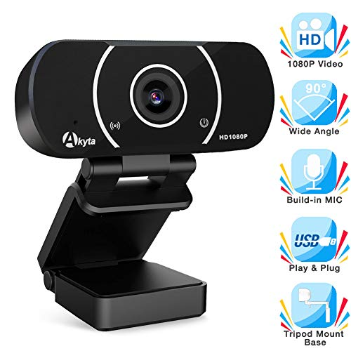 Akyta HD Streaming Webcam 1080P, Video Calling and Recording Web Camera, USB Camera for Computer, Laptop, Desktop, YouTube, OBS, Skype, Facebook, Flexible Rotatable Clip with Tripod Mount Hole