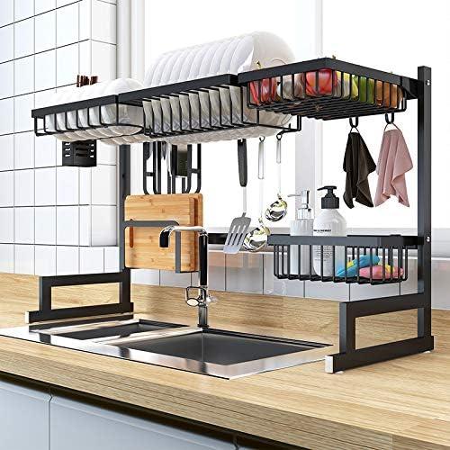 Koksi Drying Rack Dish Drainer Shelf Over Sink Organizer Kitchen Supplies Storage Counter Utensils Holder Display Stainless Steel Kitchen Space Save Drainer Plate Bowl Cooking Tools