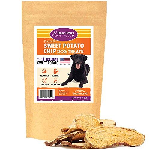 Raw Paws Natural Sweet Potato Dog Treats, 8-oz Chips - Made in USA - Grain & Gluten-Free, Human Grade, No Preservatives, Vegan, Vegetarian Dog Treats - Healthy, Dried, Chewy Dog ()