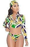 Women Sexy Floral Boho Print Long Sleeve Zipper Rash Guards Surf Bikini Set Swimsuit Green S