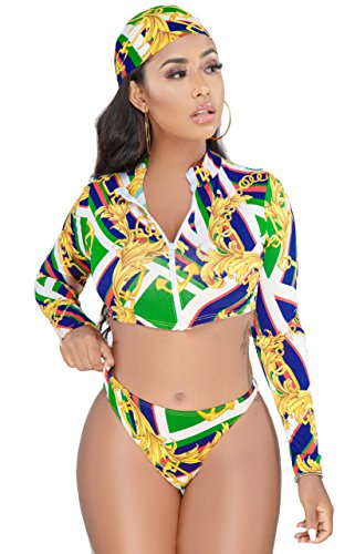 Tie Dye Two Piece Bikini - Women Sexy Floral Boho Print Long Sleeve Zipper Rash Guards Surf Bikini Set Swimsuit Green L