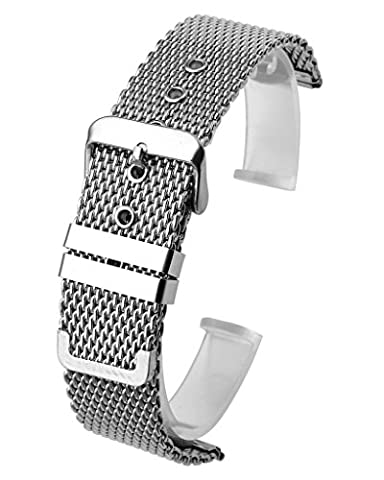 Top Plaza 20mm Stainless Steel Bracelet Wrist Watch Buckle Band Replacement Thick Mesh Metal Strap (Metal Watch Bands Replacement)