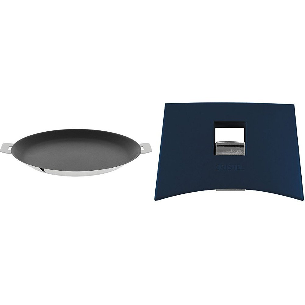 Cristel CR30QE Non-Stick Crepe Pan, Silver, 12'' with Cristel Mutine Spplmaeb Set of Handles, Blue Ink