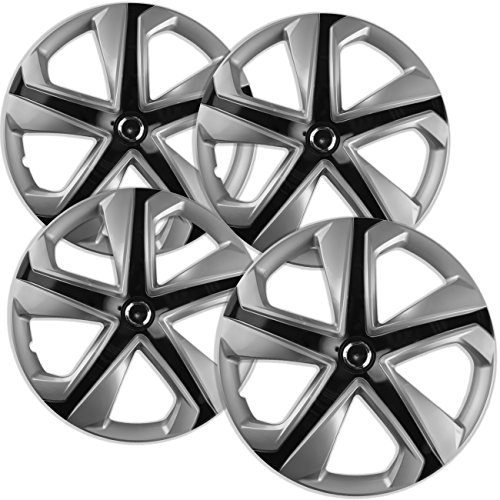 Hubcaps for Honda Civic (Set of 4) Wheel Covers - 16 inch, 5 twisted spoke, Snap On, Silver, Ice-Black