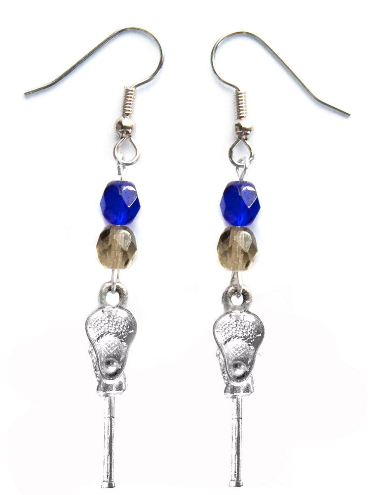 ''Lacrosse Stick & Ball'' Lacrosse Earrings (Team Colors Royal Blue & Grey)