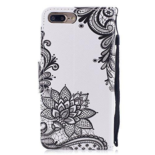 iPhone 7 / iPhone 8 Plus Hülle, Chreey PU Leder Schutzhülle mit Feder Traumfänger Muster Bumper Flip Wallet Case Handyhülle Spitze