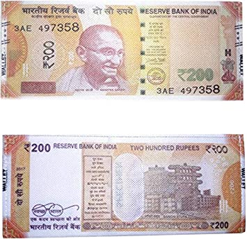 Gixmo Polyester New Indian 200 Rupee Note Printed Orange