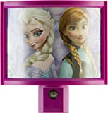 Jasco 13378 Frozen LED Plug-In Night Light, Pink/Purple, Wraparound Shade, Light-Sensing, Auto On/Off, Disney Characters Elsa and Anna