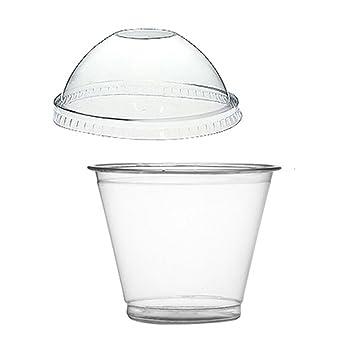 Thali Outlet® - 100 x 255 ml Squat plástico transparente tazas de batido + tapas de cúpula - postre helado crema frutas dulces: Amazon.es: Hogar