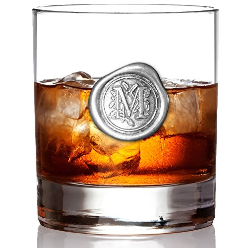 English Pewter Company 11oz Old Fashioned Whiskey Rocks Glass With Monogram Initial - Unique Gifts For Men - Personalized Gift With Your Choice of Initial (M) ()