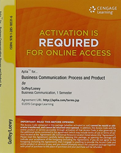 Aplia Printed Access Card For Business Communication  Process And Product  8Th Edition