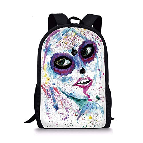 School Bags Girls,Grunge Halloween Lady with Sugar Skull Make Up Creepy Dead Face Gothic Woman Artsy,Blue Purple for Boys&Girls Mens Sport Daypack ()