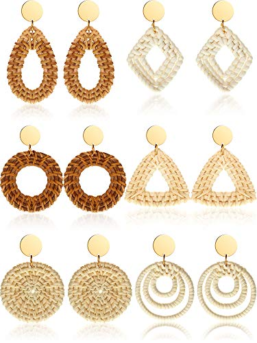 - Geometric Rattan Earrings Woven Handmade Straw Earrings Wicker Braid Earrings Bohemian Statement Hoop Earrings Drop Dangle Earrings (Style C, 6 Pairs)