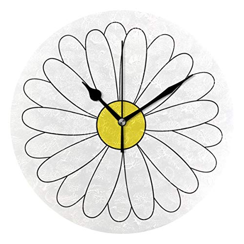 MERRYSUGAR Silent Wall Clock Non Ticking White Floral Daisy Oil Painting Round Clock for Home Office School Decorative Clock Home Decoration ()