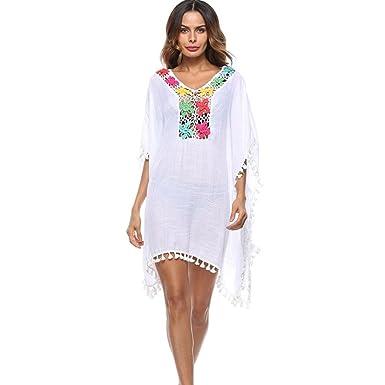 c49af62d07 Brezeh Women Bikini Cover Up, Women Summer Boho Floral Beach Cover Up Plus  Size Loose