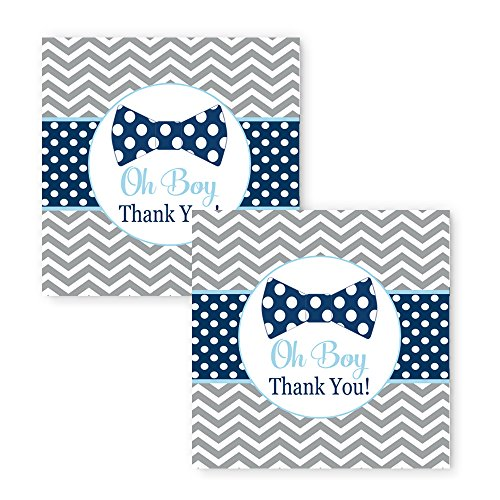 Bow Tie Favor Tags Baby Shower or Party 25 Pack (Navy Stripe Favor Cards)