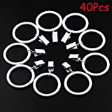 Md Trade 40 Pcs Decorative Metal Drapery Curtain Rings with Clips- 1.5 Inch Interior Diameter, White Clip Rings for Curtain