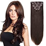 "20"" Clip on Extensions Human Hair Clip ins Real Hair Extensions Dark Brown"