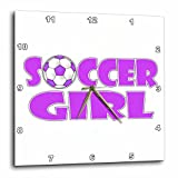3dRose dpp_181854_1 Soccer Girl Purple and White Wall Clock, 10 by 10-Inch