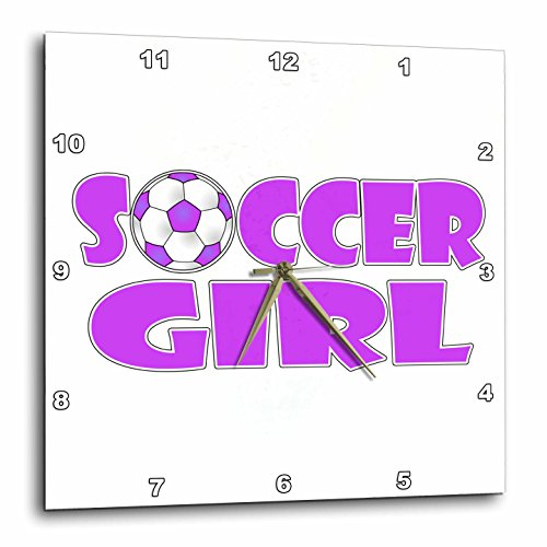 3dRose dpp_181854_1 Soccer Girl Purple and White Wall Clock, 10 by 10-Inch by 3dRose