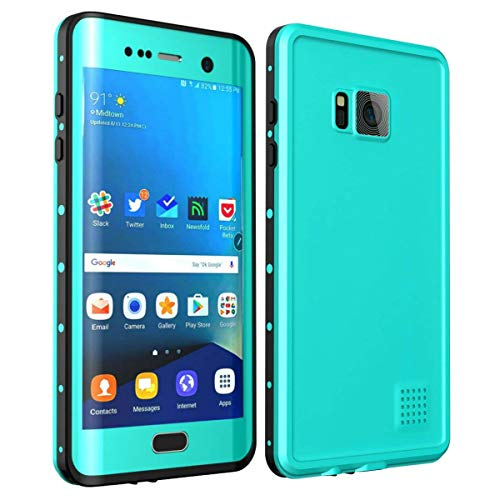 iThrough Galaxy S7 Edge Waterproof Case/6.6ft, Shockproof Snowproof Dustproof Heavy Duty, Durable Phone Protective Case Underwater Cover for Galaxy S7 Edge(5.5inch) (Aque Blue)