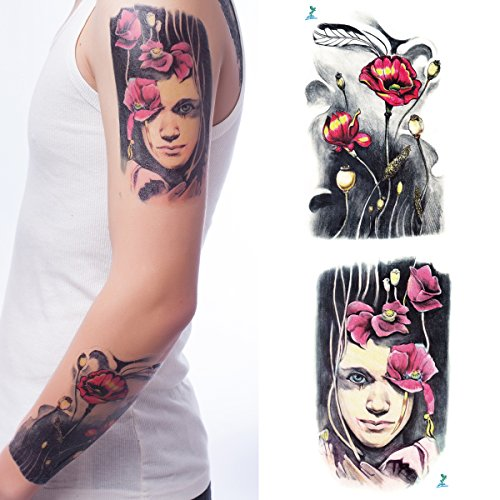 162016ff1fe01 Yeeech Temporary Tattoos for Men Women Large Waterproof Lotus Plant for Arm  (2 sheets)