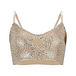 Gold Sequin Tank Top With Key Hole & Spaghetti Strap