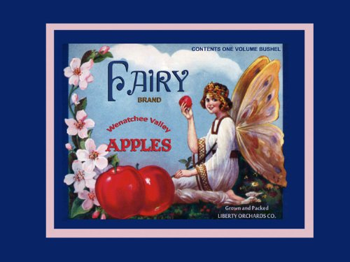 Apple Crate Label Art - CANVAS Fairy Butterfly Girl Wenatchee Valley Apples Produce in America USA Fruit Crate Label Vintage Poster Repro 12