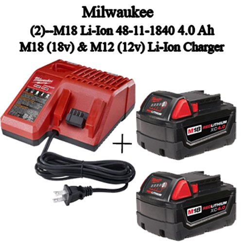 Milwaukee 48-59-1840 M18 RED LITHIUM XC 4.0 Ah Batteries (2) + 48-59-1812 M12 and M18 Multi Voltage Charger kit
