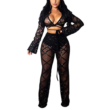c0a1cb1bd93 Kumono Womens Mesh Off Shoulder Sheer See Through 2 Piece Outfits Long  Sleeve Clubwear Jumpsuit