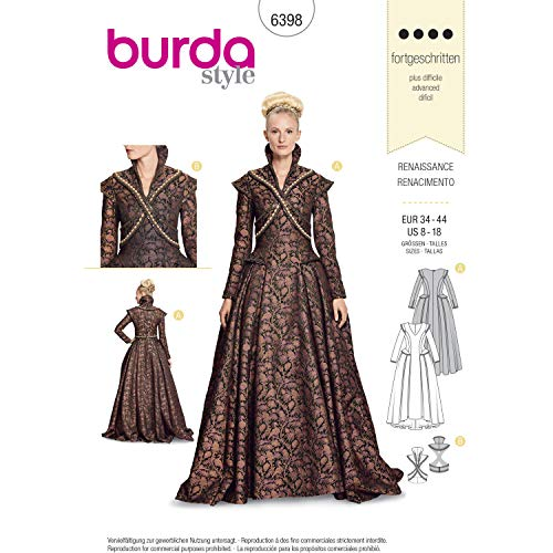Burda Style Sewing Pattern B6398 - Misses' Renaissance Dress, A(8-10-12-14-16-18)]()