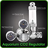 CO2 Regulator Aquarium Mini Stainless Steel Dual Gauge Display Bubble Counter and Check Valve w/ Solenoid 110V Fits Standard US Tanks - LP150 PSI - HP2000 PSI Accurate & Easy to Adjust Comes w/ Tools