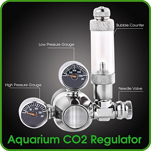 CO2 Regulator Aquarium Mini Stainless Steel Dual Gauge Display Bubble Counter and Check Valve w/ Solenoid 110V Fits Standard US Tanks - LP150 PSI - HP2000 PSI Accurate & Easy to Adjust Comes w/ Tools by MOD Complete